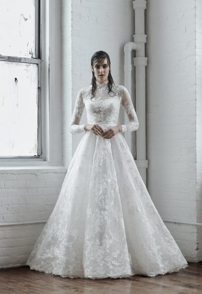 Illusion Long Sleeve Ball Gown Wedding Dress With High Neck by Isabelle Armstrong