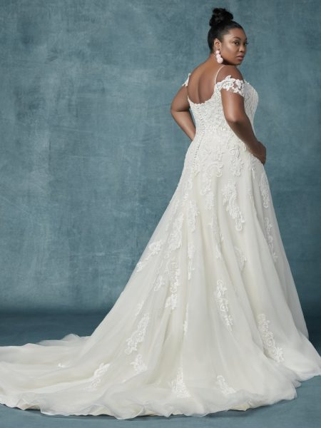 A-line Cold-shoulder Sleeves Tulle Wedding Dress by Maggie Sottero - Image 2