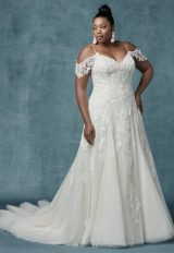 A-line Cold-shoulder Sleeves Tulle Wedding Dress by Maggie Sottero - Image 1