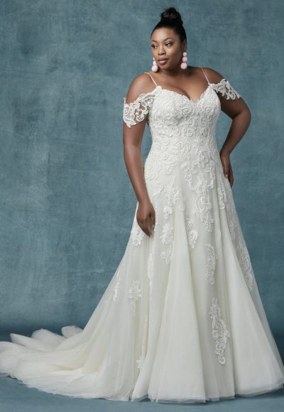 A-line Cold-shoulder Sleeves Tulle Wedding Dress by Maggie Sottero