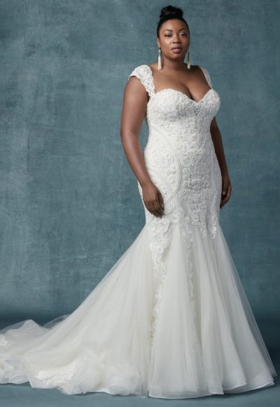 Cap Sleeve Fit And Flare Beaded Lace Gown by Maggie Sottero