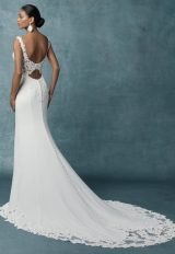 Crepe Sheath Lace Wedding Dress by Maggie Sottero - Image 2