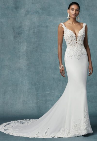 Crepe Sheath Lace Wedding Dress by Maggie Sottero