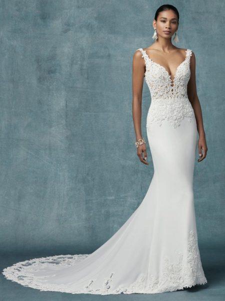 5bbc1e6071e73 Crepe Sheath Lace Wedding Dress by Maggie Sottero - Image 1
