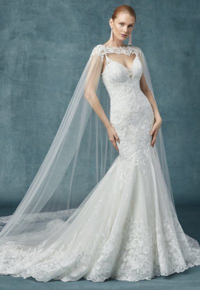 Fit And Flare Beaded Floral Wedding Dress by Maggie Sottero