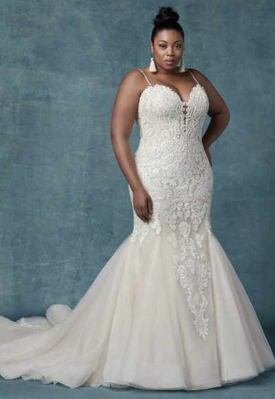 Fit And Flare Beaded Lace Tulle Skirt Gown by Maggie Sottero
