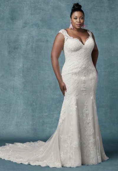 Fit And Flare Lace Sweetheart Neckline Wedding Dress by Maggie Sottero