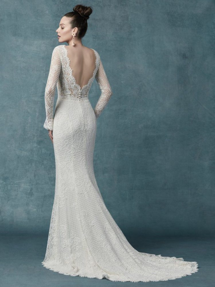 Long Sleeve Lace Sheath Gown by Maggie Sottero - Image 2