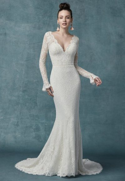 Long Sleeve Lace Sheath Gown by Maggie Sottero