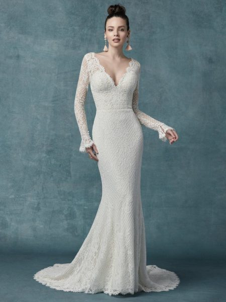 Long Sleeve Lace Sheath Gown by Maggie Sottero - Image 1