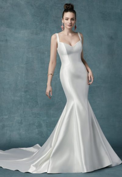 Simple Mikado Fit-and-flare Sweetheart Neckline. by Maggie Sottero