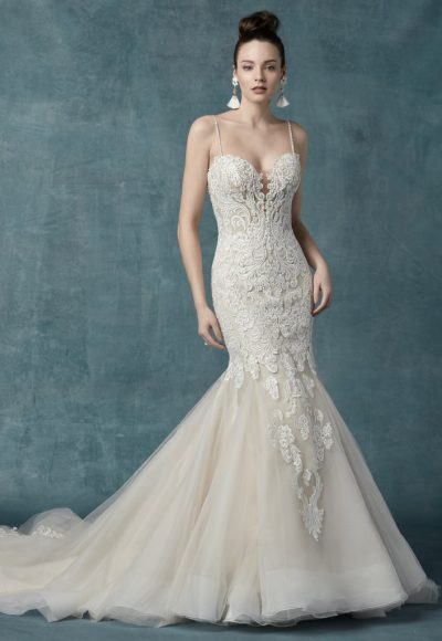 Spaghetti Strap Beaded Lace Bodice Fit And Flare Wedding Dress by Maggie Sottero