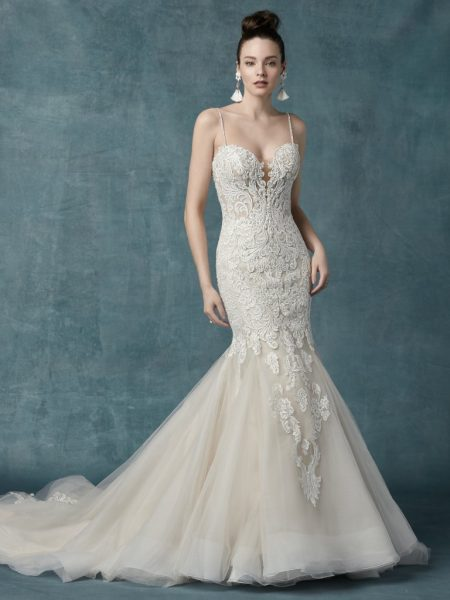 Spaghetti Strap Beaded Lace Bodice Fit And Flare Wedding Dress by Maggie Sottero - Image 1
