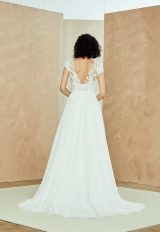 Cap Sleeve V-neck Tulle A-line Wedding Dress With Applique Bodice by Nouvelle Amsale - Image 2
