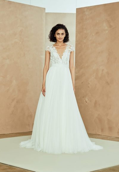 Cap Sleeve V-neck Tulle A-line Wedding Dress With Applique Bodice by Nouvelle Amsale