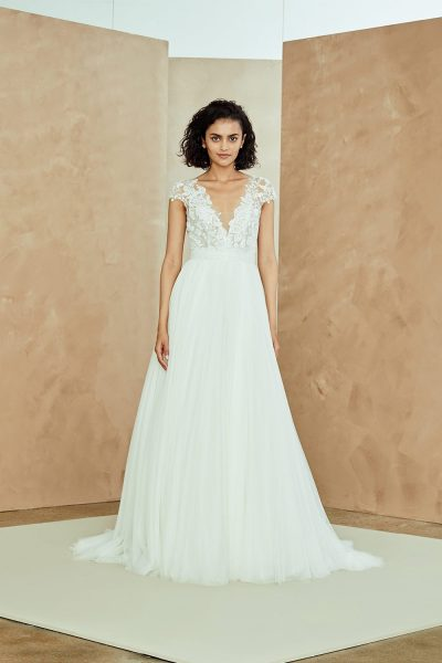 Cap Sleeve V-neck Tulle A-line Wedding Dress With Applique Bodice by Nouvelle Amsale - Image 1