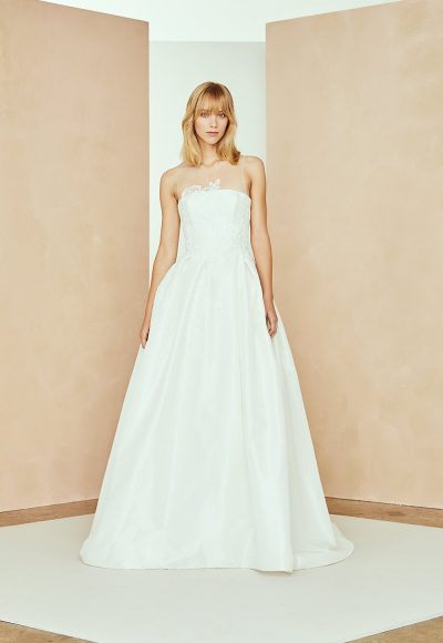 Illusion Neckline Taffeta A-line Wedding Dress With Floral Lace by Nouvelle Amsale
