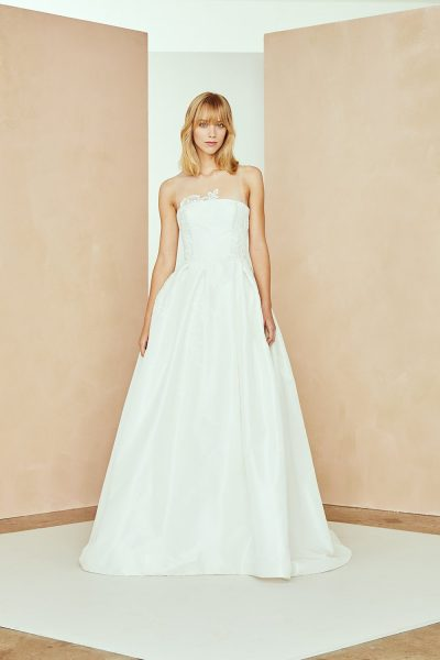Illusion Neckline Taffeta A-line Wedding Dress With Floral Lace by Nouvelle Amsale - Image 1