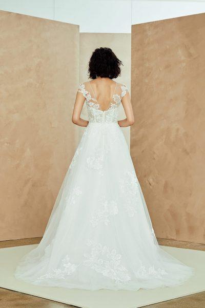 Illusion Neckline Tulle A-line Wedding Dress With Lace Applique by Nouvelle Amsale - Image 2