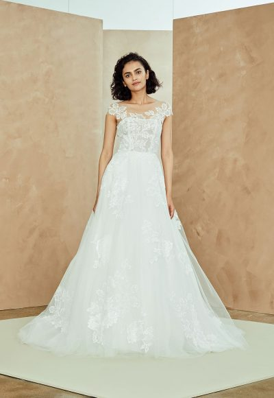 Illusion Neckline Tulle A-line Wedding Dress With Lace Applique by Nouvelle Amsale