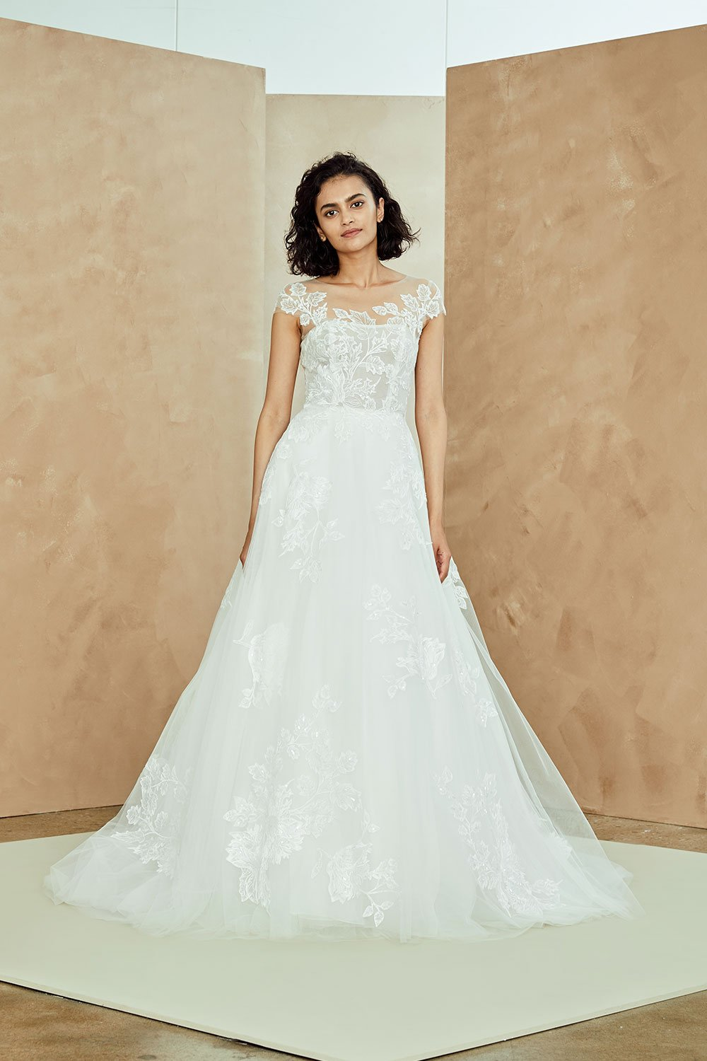 Illusion Neckline Tulle A Line Wedding Dress With Lace Applique