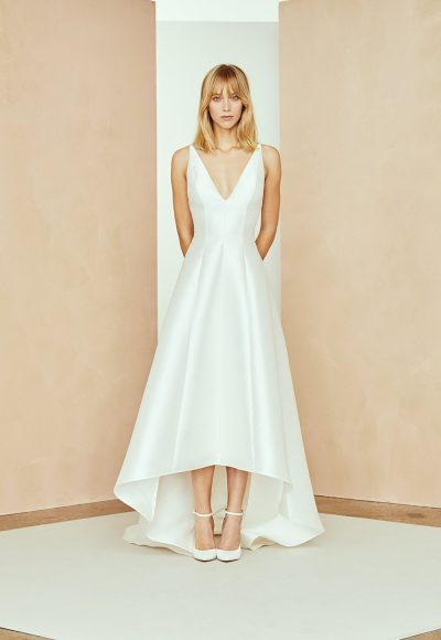 Silk Mikado Hi-low A-line Wedding Dress With V-neckline by Nouvelle Amsale