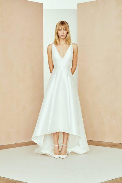Silk Mikado Hi-low A-line Wedding Dress With V-neckline by Nouvelle Amsale - Image 1