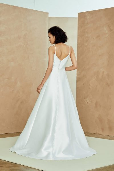 Silk Mikado Spaghetti Strap A-line Wedding Dress by Nouvelle Amsale - Image 2