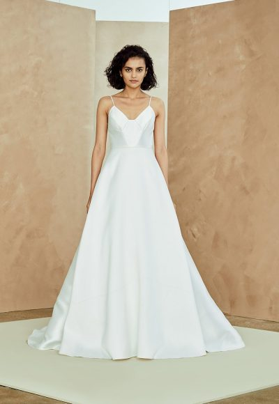 Silk Mikado Spaghetti Strap A-line Wedding Dress by Nouvelle Amsale