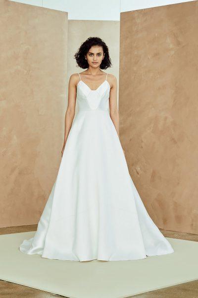 Silk Mikado Spaghetti Strap A-line Wedding Dress by Nouvelle Amsale - Image 1