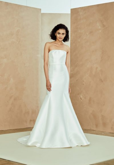 Silk Mikado Strapless Fit And Flare Wedding Dress by Nouvelle Amsale