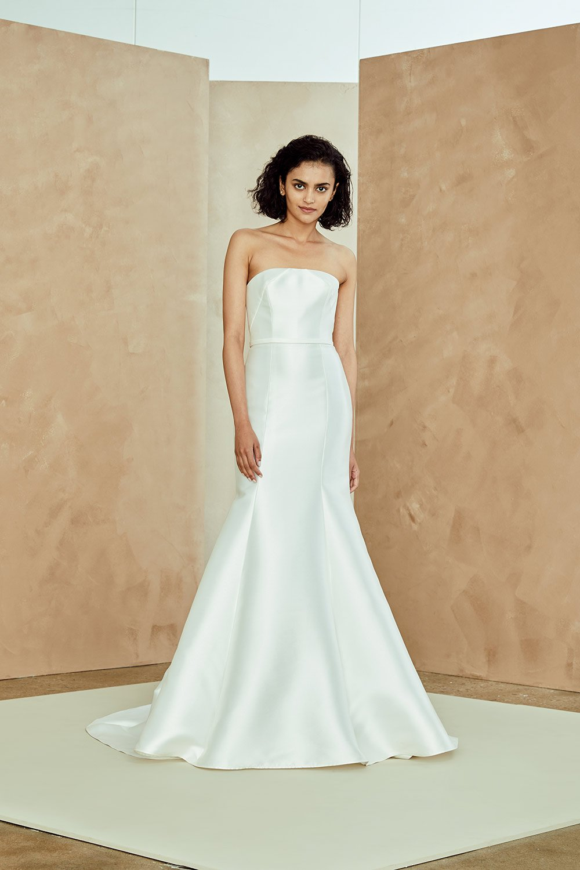Silk Mikado Strapless Fit And Flare Wedding Dress Kleinfeld Bridal