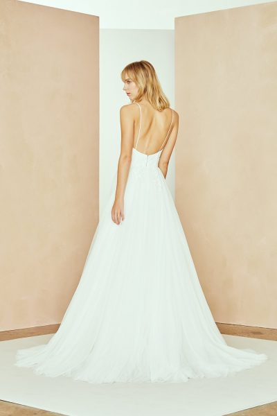 Spaghetti Strap A-line Wedding Dress With Tulle Skirt And Floral Lace by Nouvelle Amsale - Image 2