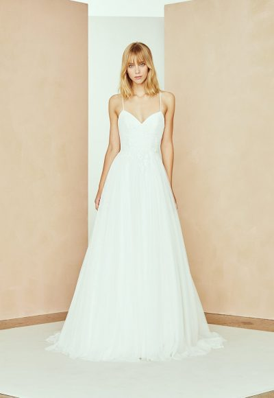 Spaghetti Strap A-line Wedding Dress With Tulle Skirt And Floral Lace by Nouvelle Amsale