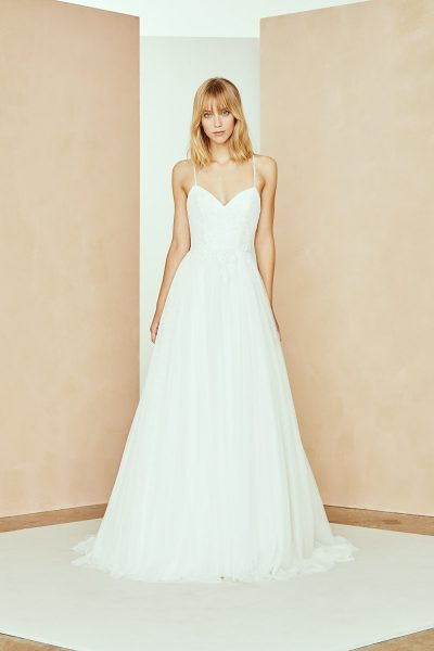 Spaghetti Strap A-line Wedding Dress With Tulle Skirt And Floral Lace by Nouvelle Amsale - Image 1