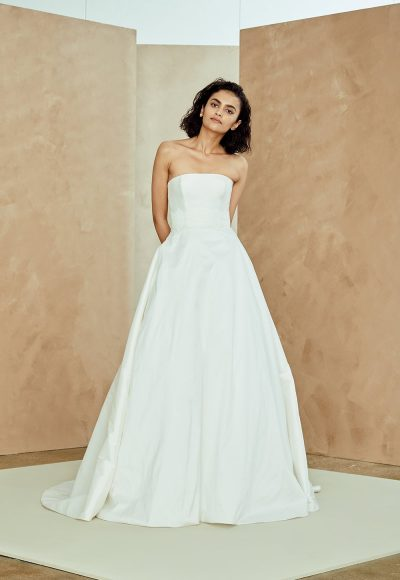 Strapless Taffeta A-line Wedding Dress With Lace Belt by Nouvelle Amsale