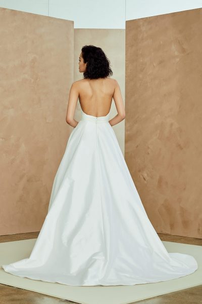 Taffeta Halter Neck A-line Wedding Dress by Nouvelle Amsale - Image 2
