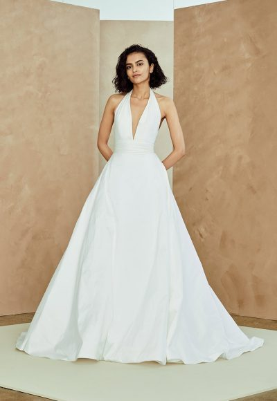 Taffeta Halter Neck A-line Wedding Dress by Nouvelle Amsale