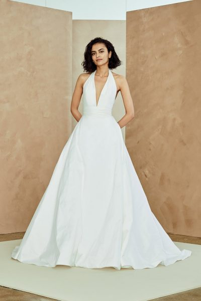 769603b1667 Taffeta Halter Neck A-line Wedding Dress by Nouvelle Amsale - Image 1