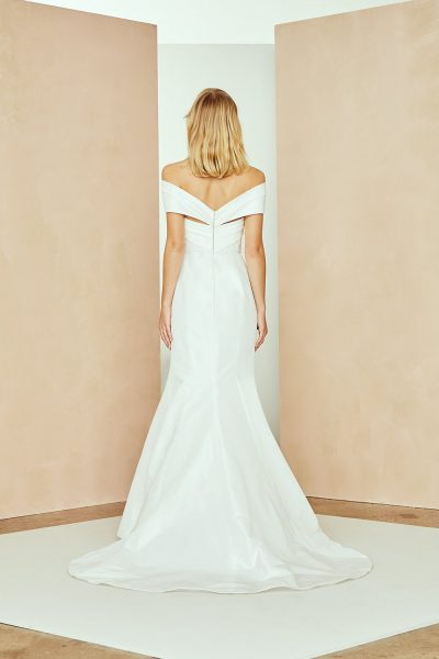 Taffeta Off The Shoulder Fit And Flare Wedding Dress by Nouvelle Amsale - Image 2