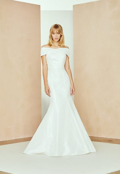 Taffeta Off The Shoulder Fit And Flare Wedding Dress by Nouvelle Amsale