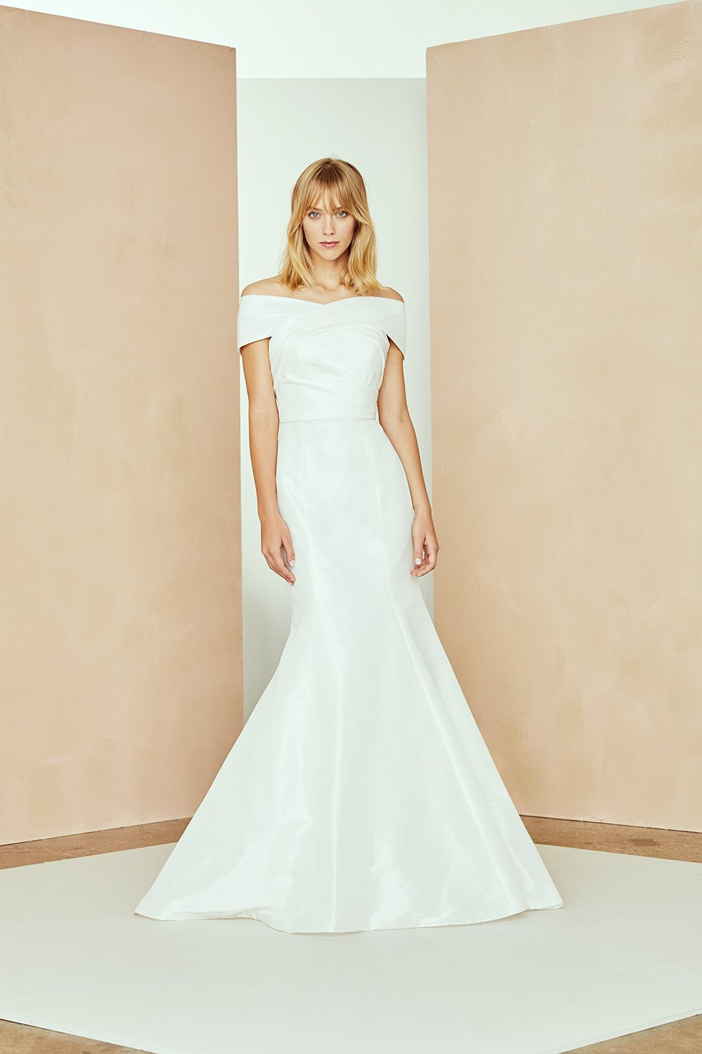 Taffeta Off The Shoulder Fit And Flare Wedding Dress