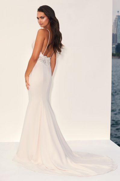 Sleeveless V-neck Crepe Sheath Wedding Dress With Illusion Lace At Midriff by Paloma Blanca - Image 2