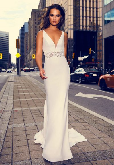 Sleeveless V-neck Crepe Sheath Wedding Dress With Illusion Lace At Midriff by Paloma Blanca