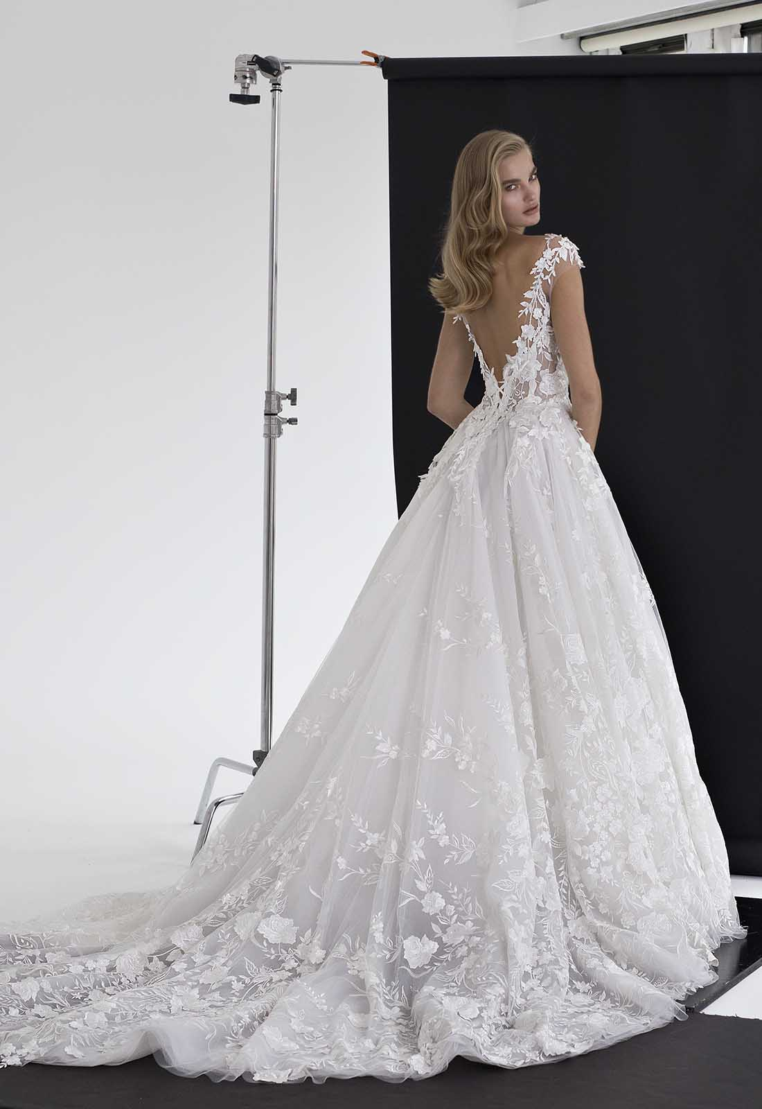Pnina Tornai Ball Gown Wedding Dresses: Floral Applique Tulle Ball Gown