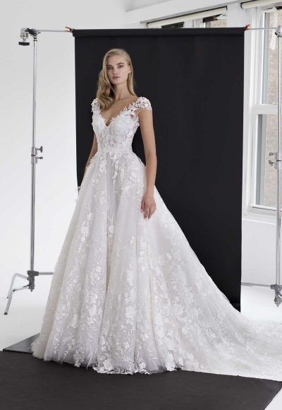 Floral Applique Tulle Ball Gown by Pnina Tornai
