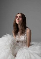 Ruffle Skirt Lace Bodice Ball Gown Wedding Dress by Rivini - Image 1
