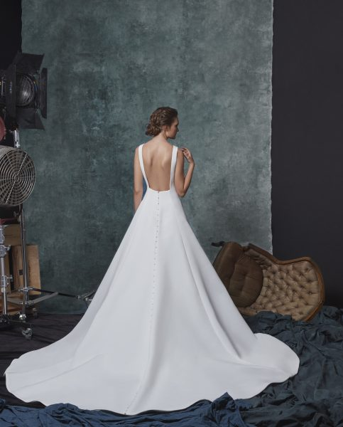 A-line Silk Bateau Neckline Wedding Dress by Sareh Nouri - Image 2