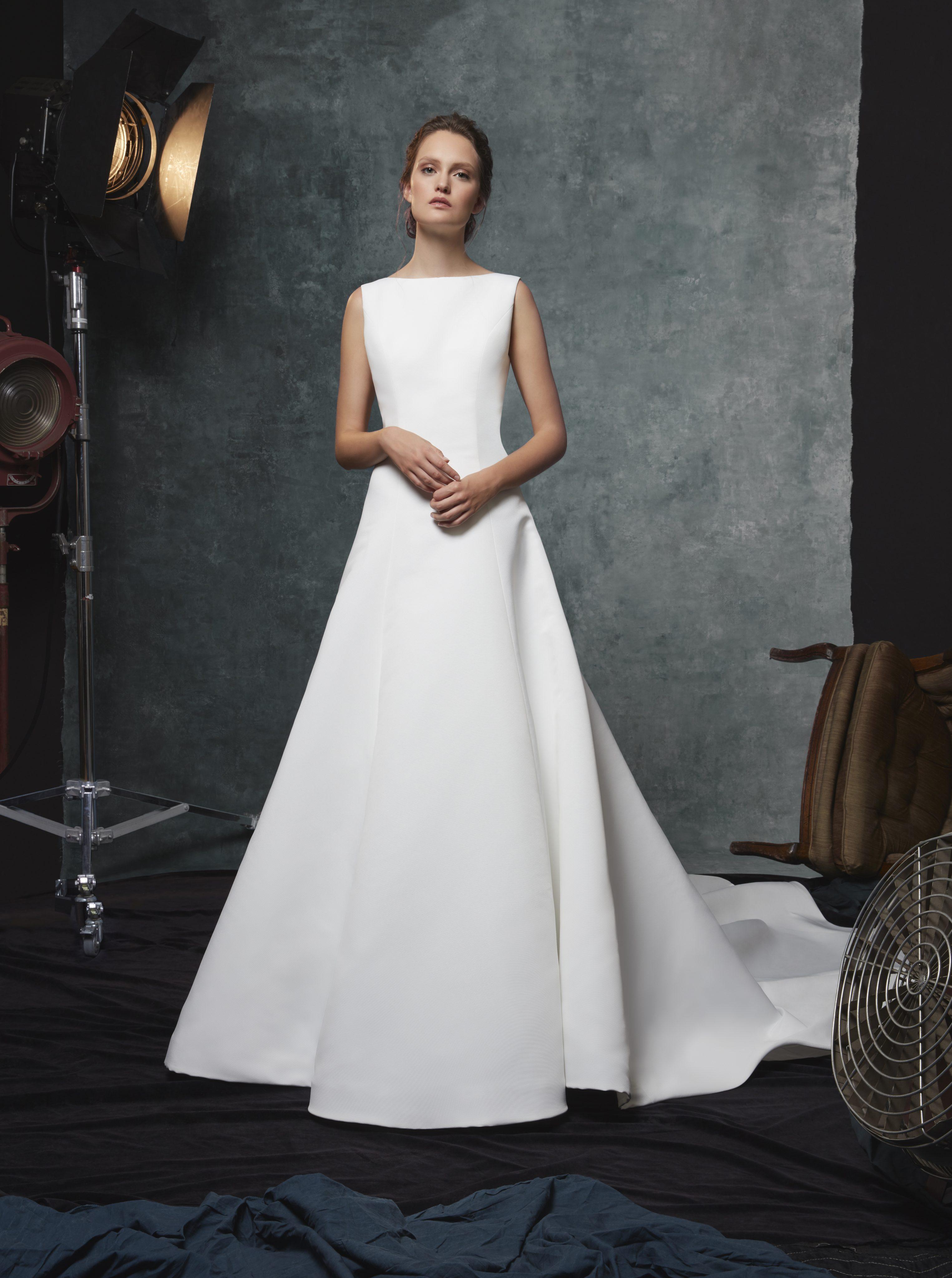 A Line Silk Bateau Neckline Wedding Dress Kleinfeld Bridal