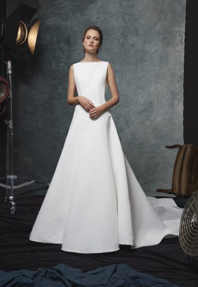 A-line Silk Bateau Neckline Wedding Dress by Sareh Nouri